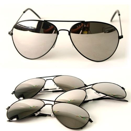 Black Frame & Mirrored Lens Aviator 3-Pack w/
