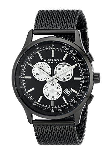 Akribos-XXIV-Mens-AK625BK-Round-Black-Dial-Chronograph-Quartz-Black-Bracelet-Watch