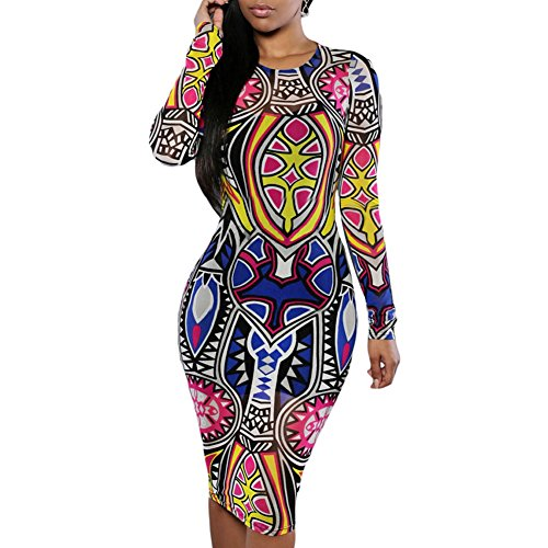 Women Tribal Traditional African Print Party Bandage Bodycon Dress (L) (Tribal Print Tattoos)