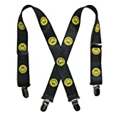CTM® Kids Elastic 1 Inch Wide Clip-End Smiley Face Pattern Suspenders