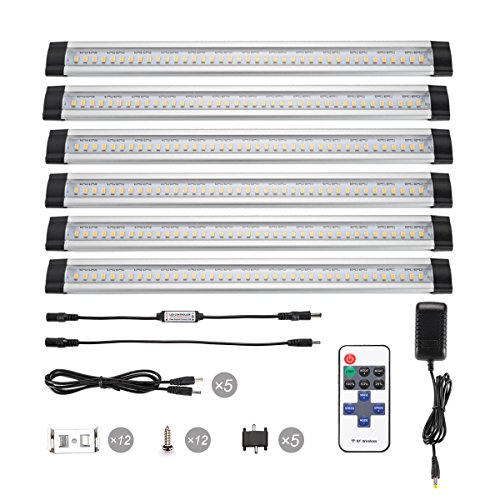 B-right 12-inch Dimmable Under Cabinet Light with Remote Control, 48W Fluorescent Tube Equivalent, 6 Panels Kit, 1800lm, Total of 24W, 3000K Warm White, LED Closet Lighting, Under Counter Light (Cable Shelf Brackets Aluminium compare prices)