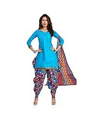 Sonal Trendz Sky Blue Color Patiyala Pure Cotton Dress Material.Festive Wear Pure Cotton Suit With Lace - B018K0NO1S