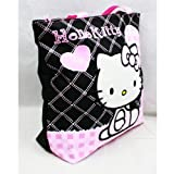 Hello Kitty Black Tote Bag - Pink Hearts (Color: Multi-Colored, Tamaño: 15')