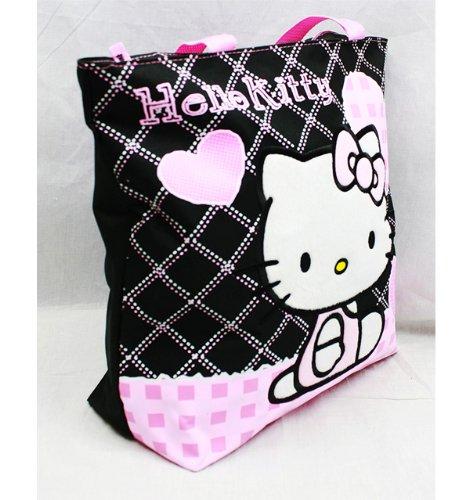 Hello Kitty-Borsa Cuore Nero Checker nuovi regali da ragazza Purse 81587-3