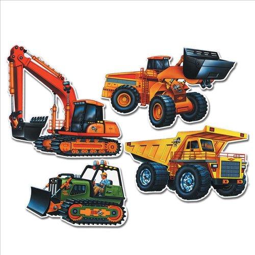 Construction Vehicle Cutouts Party Accessory (1 count) (4/Pkg)