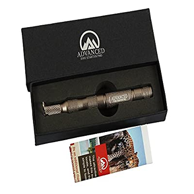 #1 Breakthrough Military Grade Magnesium Fire Starter Flint - Stormproof - With Scraper, Compass - Crafted From Aircraft Aluminum - BONUS Gifts from Advanced Fire Starter Pro