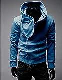 メンズ ジャケット 斜め ジップ アップ フード 付き 長袖 ライダース パーカー トレーナー スウェット ブルー 薄手だけど裏起毛で暖かい XXL