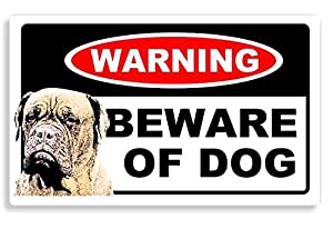 Dogue de Bordeaux Dog - Beware Sticker For Home Door / Car Sign