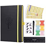 Bullet Journal - Lemome Dotted Numbered Pages Hardcover A5 Notebook with Pen Holder + Premium Thick Paper + Bonus Gifts in the Back Pocket (Black) (Color: Black, Tamaño: Dot)