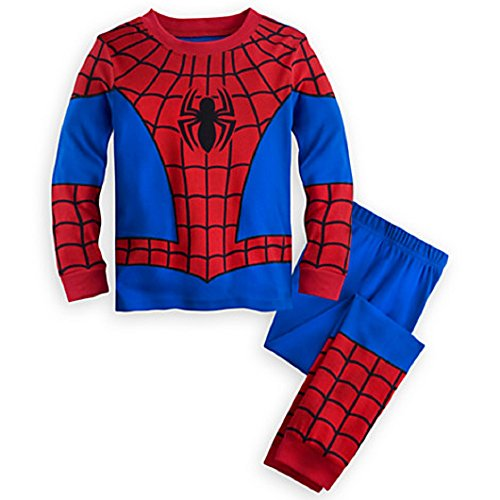 Disney Store Deluxe Spiderman Spider Man PJ Pajamas Boys Toddlers Size 10