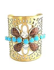 The Jewelbox Designer Handmade Brass Blue Brown Stone Kada Cuff Bangle Bracelet