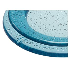 Deluxe Plastic Toilet Seat with Metal Hinges, Blue Bubbles