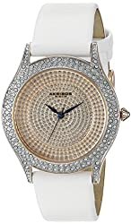Akribos XXIV Women's AK896WTR Round Silver Dial Three Hand Quartz  Strap Watch