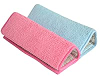 Sinland Microfiber Home & Kitchen Stainless Steel Scrubbing Pads with Sponge 8.9Inchx6.3Inch Pink blue