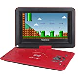 Koolertron 2015 New 10.2 Inch High Quality Portable DVD Player With 180° Swivel - Support Game + USB + SD (10.2 inch, Red)