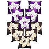 Laser Cut Flower Cushion Covers Combo Purple & Brown 40 X 40 Cms(10 Pcs Set)