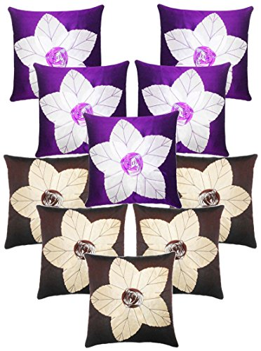 Laser Cut Flower Cushion Covers Combo Purple & Brown 40 X 40 Cms(10 Pcs Set)