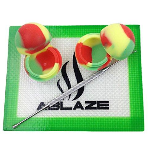 ABLAZE Rasta Dab Nonstick Non Stick Oil Wax Silicone Mat Pad Container Jar Tool Kit 5ML