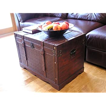Georgetown Faux Leather Chest Wooden Steamer Trunk - Large Trunk