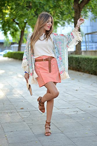 Persun Women Vintage Floral Fringe Kimono Cardigan Jacket Blouse 5