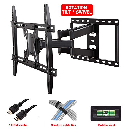 Mounting Dream® Md2296 Tv Wall Mount Bracket With Full Motion Dual Articulating Arm For 42-70 Inches Led, Lcd And Plasma Tvs Up To Vesa 600X400Mm And 100Lbs, With Tilt, Swivel, And Rotation Adjustment, Including 6 Ft Hdmi Cable And Magnetic Bubble Level (
