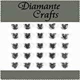 25 x 10mm Clear Diamante Hearts Self Adhesive Rhinestone Craft Embellishment Gems - created exclusively for Diamante Crafts
