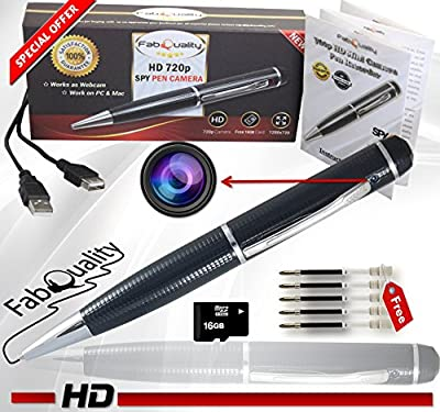 FabQuality Hidden Camera Pen Spy Pen Camera True Video Resolution 1280 x 720P HD + Ultimate 16GB Micro Card & FREE 5 ink Fills Included, HD Video Camera & Image Recording - The Perfect Gift