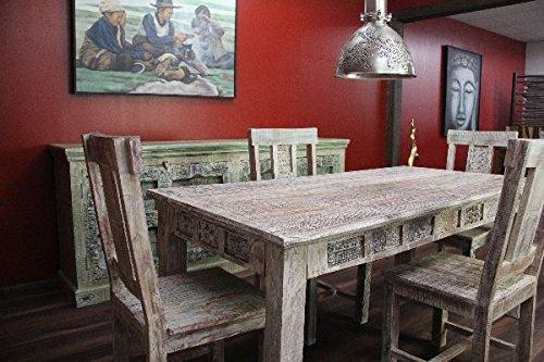 Buddha Art Lounge Esstisch, Tisch, Mediterran, Weiß, Beige, Gekälkt, Massivholz, 180x91x77