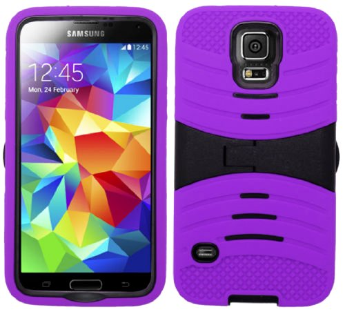 Mylife (Tm) Bright Indigo Purple And Dark Night Black - Shockproof Survivor Series (Built In Kickstand + Easy Grip Ridges) 2 Piece + 2 Layer Case For New Galaxy S5 (5G) Smartphone By Samsung (Internal Flex Silicone Bumper Gel + Internal 2 Piece Rubberized