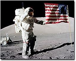 Apollo 17 Gene Cernan Flag Salute on Moon 8x10 Silver Halide Photo Print