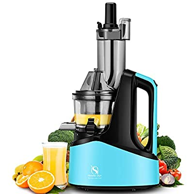 "Natalie Styx New Generation Wide Chute Anti-Oxidation Slow Masticating Juicer (240W AC Motor, 60 RPMs, 3"" Inches Big Mouth) - Vertical Masticating Cold Press Juicer"