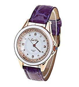 CaiQi Women Water Resistant Watch Purple Leather Band Wrist Watch 598