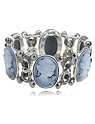 Vintage-Inspired Smokey Grey Crystal Rhinestone Cameo Maiden Stretch Bracelet
