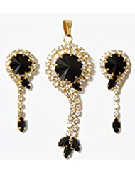 DollsofIndia Black Stone Studded Pendant And Earrings - Metal - Black