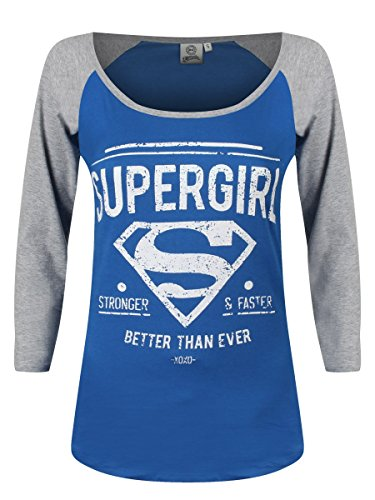 Supergirl Stronger & Faster Manica lunga donna blu/grigio XL