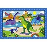 LA Rug Olive Kids Dinosaurland 19-by-29-Inch Nylon Rug