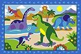 """LA Rug Olive Kids Dinosaurland Rug 39""""x58"""""""