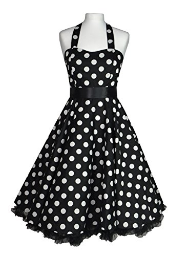 Black & White Polka Dot Swing Dress with Black Petticoat & Belt