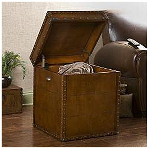 Accent Antique Rectangle Steamer Walnut Finish Trunk End Table 2