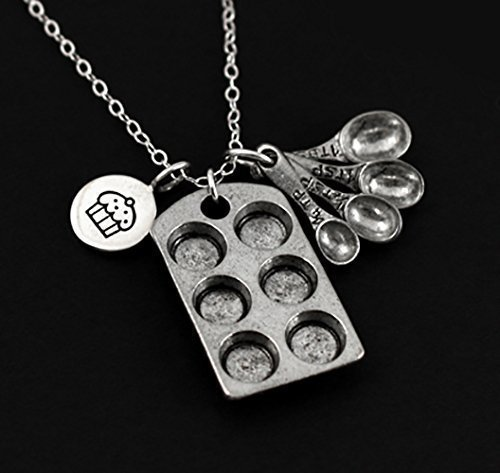 baking-themed-charm-necklace-sterling-silver-measuring-spoons-with-muffin-charm-bakers-jewelry-charm