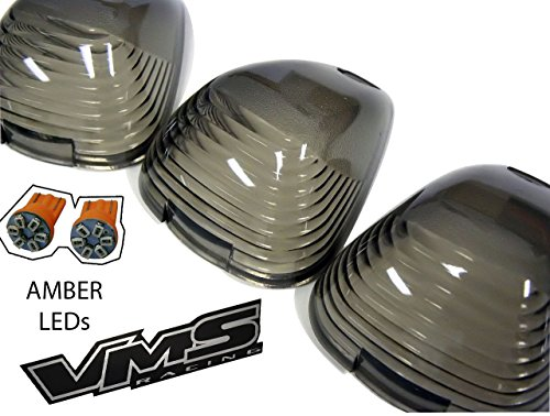 Cab Roof Lights 5 Five Piece pc COVERS in SMOKE CRL 264142BKA (AMBER LED) for 99-14 Ford F250 F350 F450 F550 F650 Superduty Excursion (with 5 AMBER LED Bulbs) 99 00 01 02 03 04 05 06 07 08 09 10 11 12 13 14 1999 2000 2001 2002 2003 2004 2005 2006 2007 2008 2009 2010 2011 2012 2013 2014 (Led In Cab Lights compare prices)