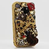 3D Swarovski Leopard Crystal Bling Case Cover for iphone 4 / 4s AT&T Verizon & Sprint