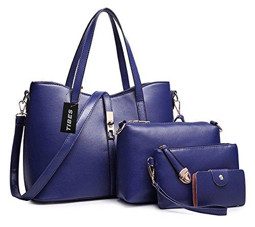 Tibes PU cuir sac a main + epaule de sac de femmes de la mode + porte-monnaie + carte 4pcs mis Bleu profond