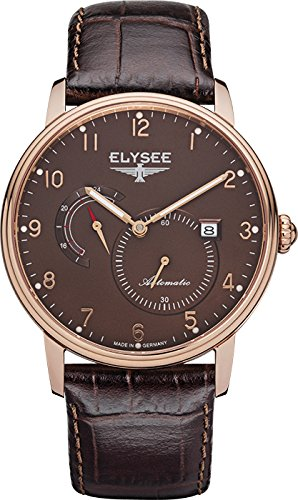 Elysee Priamos reloj para hombre de oro rosa/marrón con correa de cuero marrón