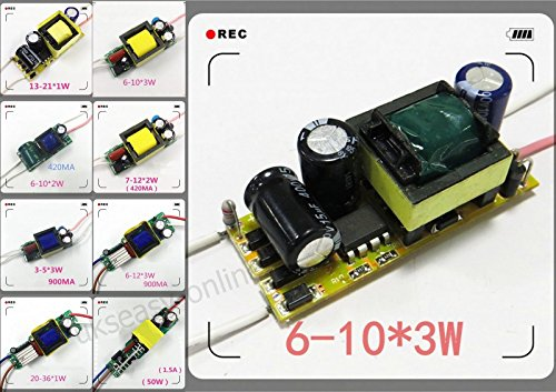 1pcs Lot Internal Isolated High Power Driver for LED Lamp Light Constant Current ,Type:(6~10)*3W 900ma