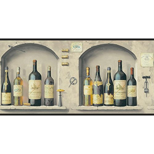 York Wallcoverings American Classics The Wine Is Fine Border Memo Sample, 8 By 10-Inch, Greys, Deep Maroon, Amber, Pewter, Black front-315709