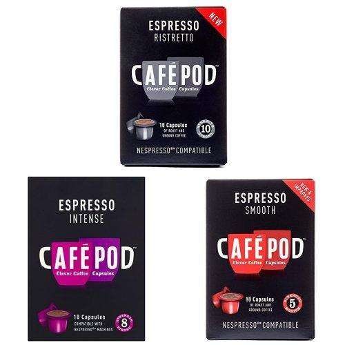 Cafe Pod Nespresso Compatible Bundle (Pack of 12, Total 120 Pods)