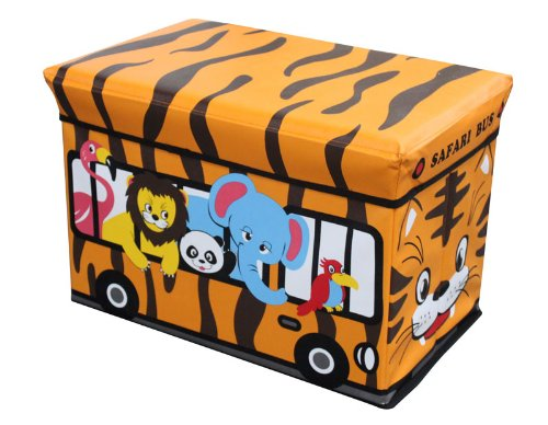 Home Basics Folding Ottoman, Safari Bus