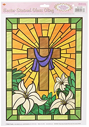 Easter Stained Glass Cling Party Accessory (1 count) (1/Sh)