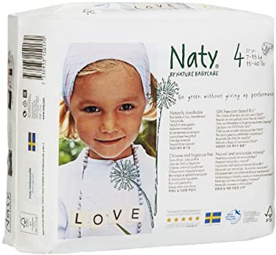 Naty Eco-friendly Baby Diapers Jumbo Pack Size 4 Maxi. 7-18 kg, 15-40 lbs, 27 pcs